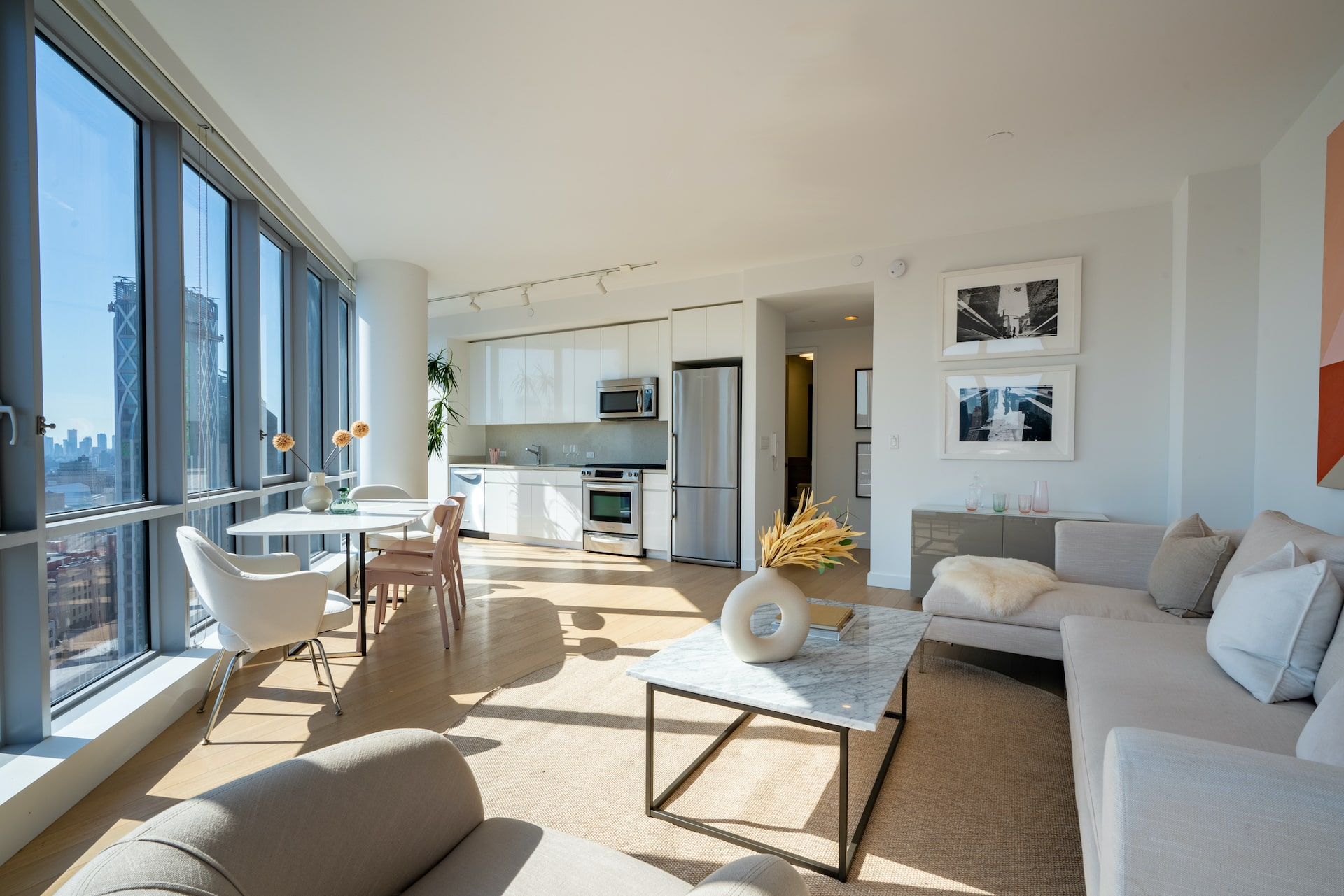 One Sixty Madison Sun filled living room residences
